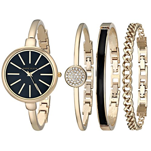 Anne Klein Women's AK/1470GBST Gold-Tone Watch and Bracelet Set (Quartz Bracelet Watch Bangle)