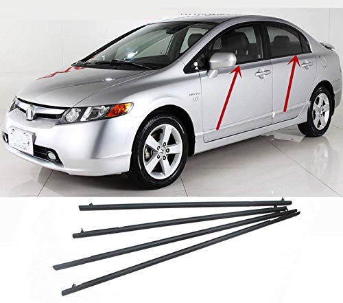 MotorFansClub 4PCS Weatherstrip Window Seal for Honda Civic 2006 2007 2008 2009 2010 2011, Door Outside Trim Seal Belt, Black