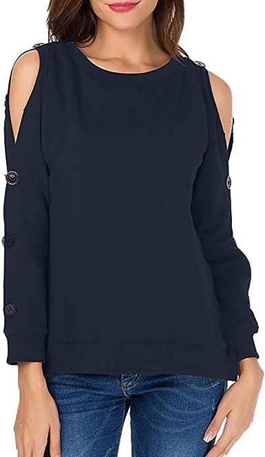 Luckycat Mujer Camiseta Elegante Casual Hombros Descubiertos Blusa Mangas Largas Cuello V Jersey Punto Suelto Top: Amazon.es: Ropa y accesorios