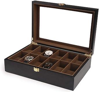 5 Caja De Relojes, Madera Estuche Organizador para Relojes, Exhibición Reloj Caja De Almacenamiento (Color : C(12 Watch)): Amazon.es: Relojes