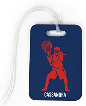 Standard Lines on Back Personalized Girl Tennis Player CAROLINA//NAVY LARGE Tennis Luggage /& Bag Tag