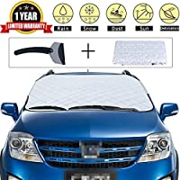 Car Snow Cover Premium Windshield Snow Cover Universal Windshield Snow and Ice Cover & Sun Shade Protector for All Vehicles with Snow Scraper (M)