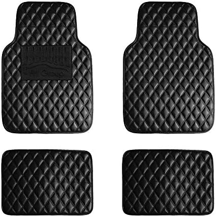FH Group F12002 Luxury Universal All-Season Heavy Duty Faux Leather Car Floor Mats Diamond Design w. High Tech 3-D Anti-Skid/Slip Backing