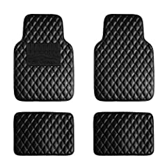 All weather Lightweight, waterproof faux leather floor mats effectively trap dirt, spills, water, and any mess the weather brings. Vacuum or use soap and water. Air dry.