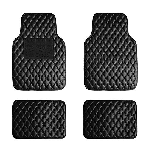 FH Group F12002BLACK Luxury Universal All-Season Heavy-Duty Faux Leather Car Floor Mats Diamond Design w. High Tech 3-D Anti-Skid/Slip Backing