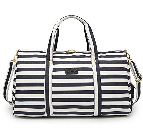 Elenture Weekender Tote Bag Leather Travel Duffel Bag Overnight Carry Bag (Navy Blue/White Stripe) by Elenture (Image #1)