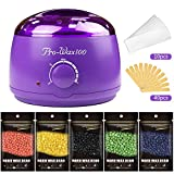 Hair Removal Wax Pot Warmer Kit with 5 Flavors Hard Wax Beans and Wax Applicator Sticks for Women or Men By Mibote