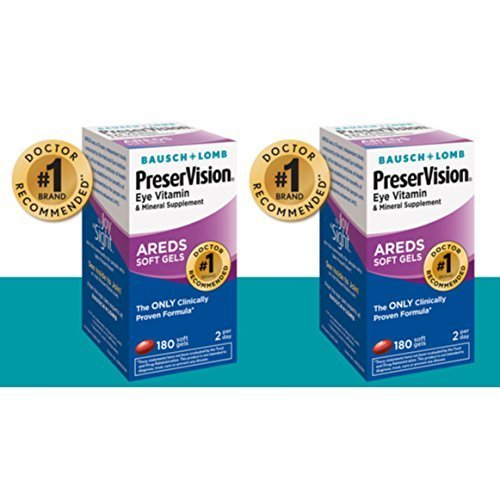 Bausch and Lomb PreserVision AREDS Supplement - 2 Bottles, 180 Softgels Each
