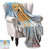 WinfreyDecor Golden Retriever Home Throw Blanket Dog Washing in Bathtub Cartoon Foam and Soap Hygiene All Season Light Weight Living Room 30' Wx50 L Pale Blue Pale Orange Coral