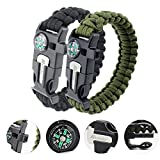 MAIBU Multifunctional Paracord Bracelet Survival Gear Kit with Embedded Compass, Fire Starter, Emergency Knife & Whistle - Quick Release Slim Buckle Design Hiking Gear(2 PC)