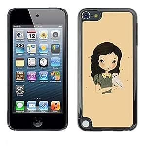 FECELL CITY // Duro Aluminio Pegatina PC Caso decorativo Funda Carcasa de Protección para Apple iPod Touch 5 // Girl Black Hair Pretty Cute Drawing