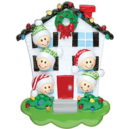 Ornament Wreath House (Personalized House Family of 5 Christmas Ornament for Tree 2018 - Cute Couple Siblings Friends in Lighten New House Wreath - Romantic Tradition Apartment Home - Free Customization by Elves (Five))