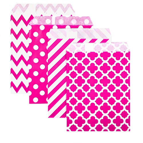 KEYYOOMY 100 Pcs Candy Buffet Bags Small Paper Treat Bags (Hot Pink, 5 inch X 7 inch)