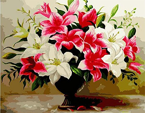 JOLOMOY DIY Paint by Numbers Kits for Adults, DIY Oil Painting by Number for Kids Beginner - White & Pink Lily Flowers 16X20 inch Christmas Home Decor (Frameless)