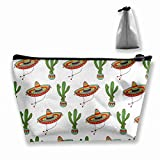 Mexican Sombrero Hat Cactus Makeup Bag Travel Case Cosmetic Bag with Zipper for Women & Men