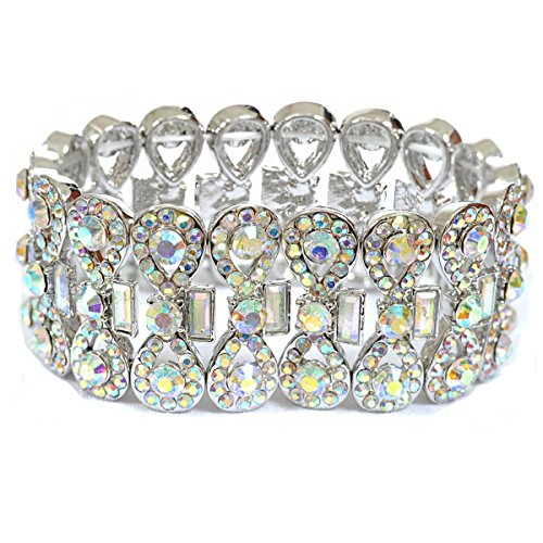 silver-aurora-borealis-rhinestone-infinity-shape-with-rectangle-crystal-stretch-bracelet