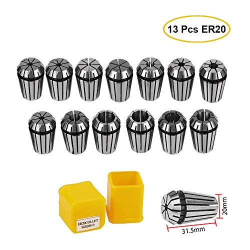 ER20 Collet Chuck Set,13Pcs Precision Spring Collet Set for CNC Engraving Machine Milling Tool Holder