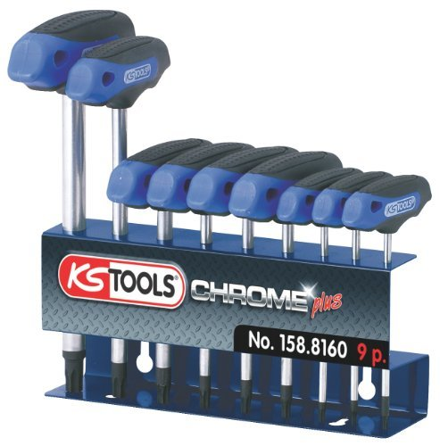 KS Tools 158.816 Ergo+ T-Handle Key Set TX, 9 Pieces, T10-T50 by KS - Tx Shopping Allen