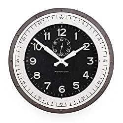 Pendulux Skyway Decorative Wall Clock, Vintage Unique Wall Clock for Outdoor and Home Decor, Gray - 20 diameter