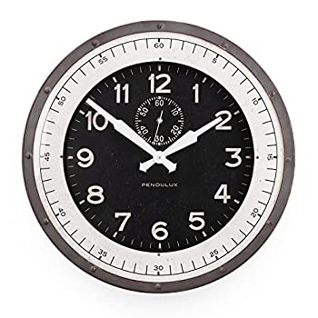 """Pendulux Skyway Decorative Wall Clock, Vintage Unique Wall Clock for Outdoor and Home Decor, Gray - 20"""" diameter"""
