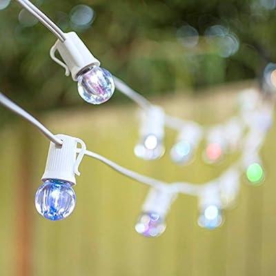 LED Globe String Lights, G30 Bulb, 50 Ft White C9 Strand, Color Changing