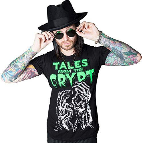- Men's Kreepsville Tales from The Crypt Glow Hands T-Shirt Black 2XL