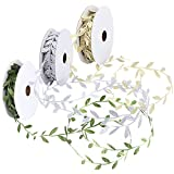 Unime Leaf Ribbons, Green Leaf Ribbon, Gold Leaf Ribbon, Silver Leaf Ribbon Trim Spool, Green Leaf Ribbon Trim Spool, 1-1/4'' X 10Yd X 3 Pack