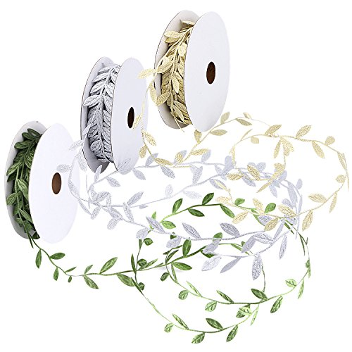 Unime Leaf Ribbons, Green Leaf Ribbon, Gold Leaf Ribbon, Silver Leaf Ribbon Trim Spool, Green Leaf Ribbon Trim Spool, 1-1/4