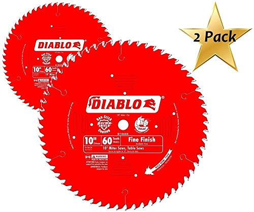 2 PACK Freud D1060X Diablo 10-Inch 60 Tooth ATB Fine Finish Saw Blade with 5/8-Inch Arbor and PermaShield Coating (Diablo Blade 10)