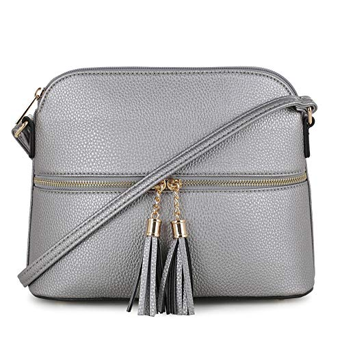 SG SUGU Lightweight Medium Dome Crossbody Bag with Tassel | Zipper Pocket | Adjustable Strap (Platinum)