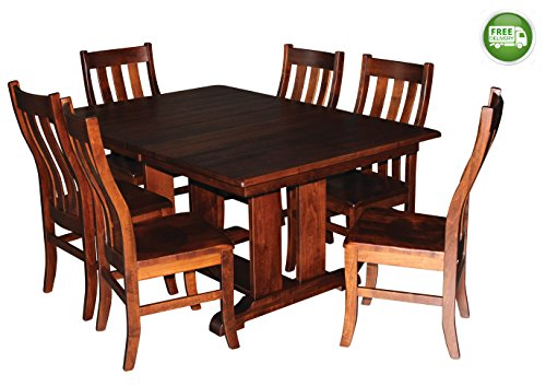 Aspen Tree Interiors Solid Wood Heirloom 9 Piece Dining Room Kitchen Table Set – Get Ready for the Holidays and Generations to Come - Made in America - 2 Leaves, 6 Chairs - WHITE GLOVE DELIVERY (60 Inch Trestle Dining Table)