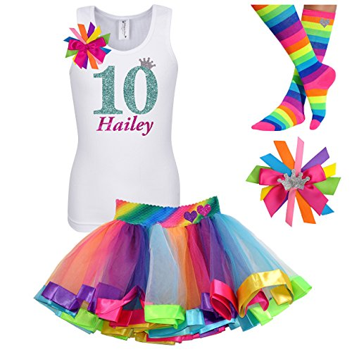 10th Birthday Shirt Rainbow Tutu Girls Party Outfit 4PC Gift Set Personalized Name Age 10 by Bubblegum Divas