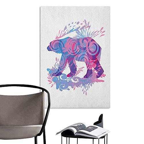 Brandosn 3D Murals Stickers Wall Decals Bear Abstract