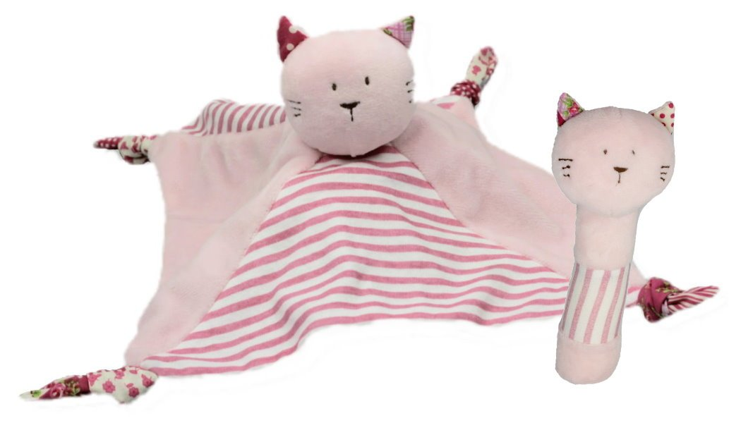 2er-Set Rassel und Schmusetuch Katze Emma rosa//pink Inware