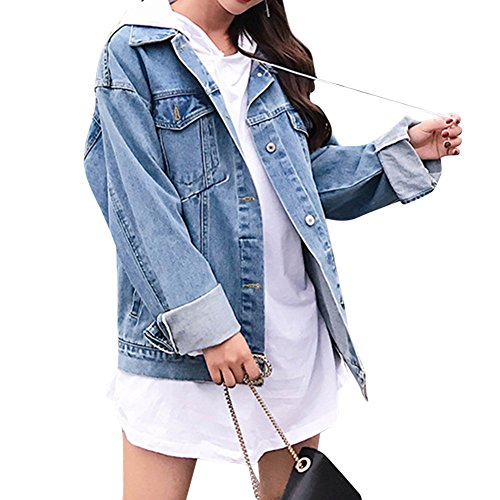 Zuozee Jean Jacket Womem, Denim Jacket Men, Boyfriend Jacket Denim Oversized, Pockets Inside - Long Sleeves - Loose - Denim Oversized