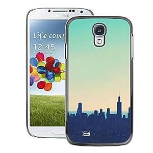 Supergiant (Skyline City Nyc New York Teal Sunset) Impreso colorido protector duro espalda Funda piel de Shell para Samsung Galaxy S4