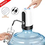 Water Bottle Pump, Puhibuox USB Charging Universal Electric 5 Gallon Water Dispenser, Waterproof LED Button Automatic Drinking Water Jug Pump for 2-5 Gallon Water Jug, Plus 3 Silicone Hoses (White)