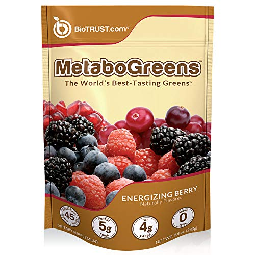 BioTrust MetaboGreens 45X Green Superfood Powder   Super Greens Vegetable Powder Mix Made with Organic Chlorella and Spirulina   Non GMO, Soy Free, Gluten Free, Dairy Free   Energizing Berry Flavor