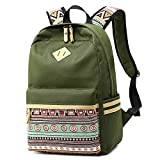 LuckyZ Casual Backpack Lightweight Waterproof Canvas Daykpack School Bag Cute Printng Travel Laptop Bag Shoulder Bookbags Classic Bohemia Style Army Green