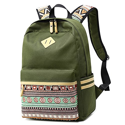 (LuckyZ High School Backpack Big Student Lightweight College Casual Laptop Bookbags Canvas Waterproof Travel Army Daykpack)