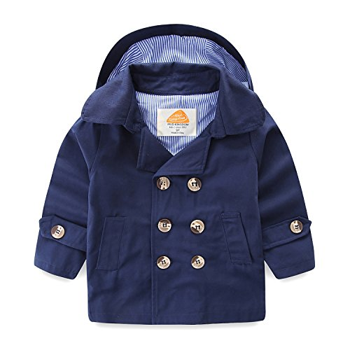 Mud Kingdom Little Boys Coats with Removable Hood for Spring and Fall 4T Navy