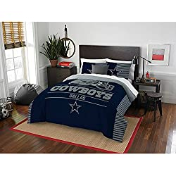 3pc NFL Cowboys Comforter Full Queen Set, Blue Grey Football Themed Bedding Sports Patterned, Unisex, Team Logo Fan Merchandise Athletic Team Spirit Fan, Polyester