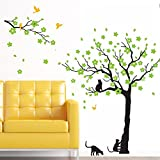 Amaonm 67'x98' Giant Removable Vinyl Black Tree + Green Flowers + Yellow Birds + Black Cat Wall Decals Stickers Murals Home Decor for Babys Nursery Living Room Bedroom TV Background Walls