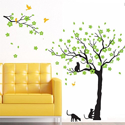 "Amaonm 67""x98"" Giant Removable Vinyl Black Tree + Green Flow"