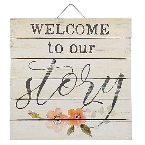 Imprints Plus Welcome to Our Story Inspirational Distressed Wood Sign, 12