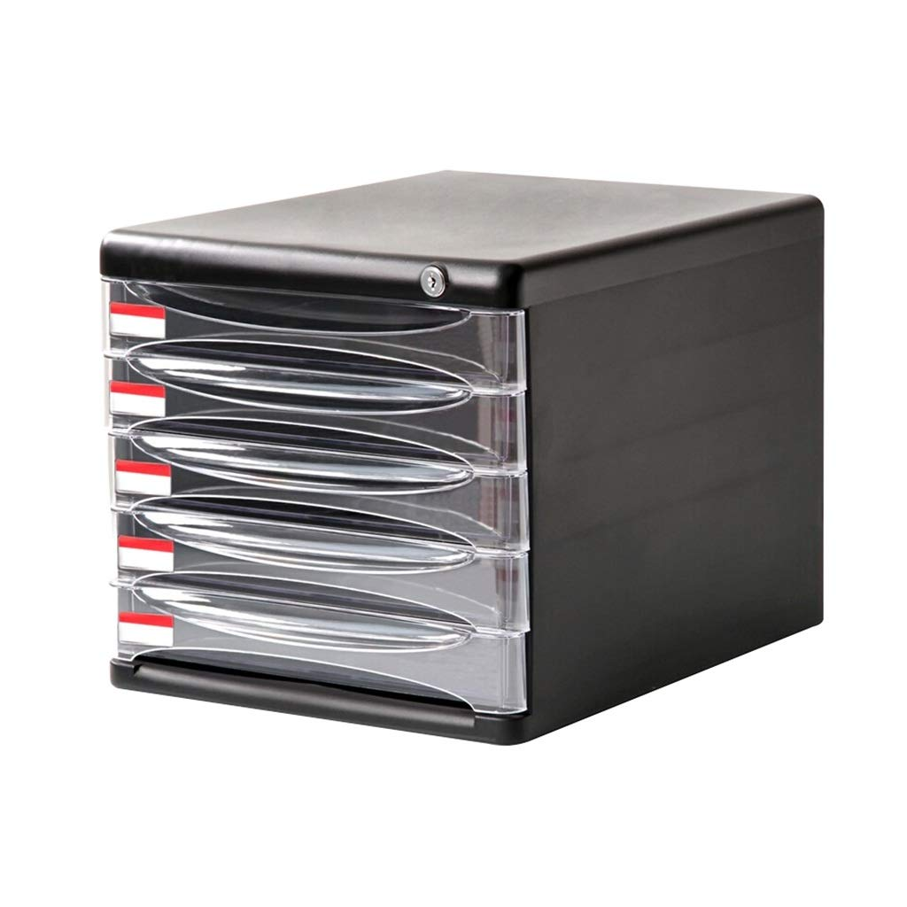 Multi-Layer File Cabinets Document Storage Cabinet, Desktop Extension Drawer Lockable Office Organizer - Color : Black (Size : 5-Layer)