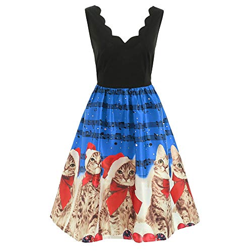 YOcheerful Women Christmas Dress Sleeveless Deep V Neck Cats Musical Notes Print Vintage Flare Dress Sexy Maxi Dress