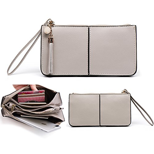 Befen Soft Leather Wristlet Phone Wallet, Clutch Wristlet with Exquisite Tassels /Wrist Strap - Fit iPhone 6 Plus/Samsung Note 5 - Gray