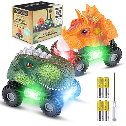 Car Toys For Kids (Magicfun Dinosaur Cars Gifts for Boys Girls, 2 Pack Dino Cars with LED Light Sound Dinosaur Toys Animal Vehicles for 2-8 Year Old Boys Girls Toddlers Kids Christmas Birthday)