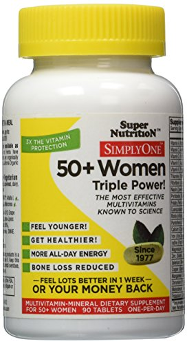 SimplyOne Multivitamin for Women 50+, Daily All-In-One Vitamin by SuperNutrition, 90 Day Supply; Best Value ()